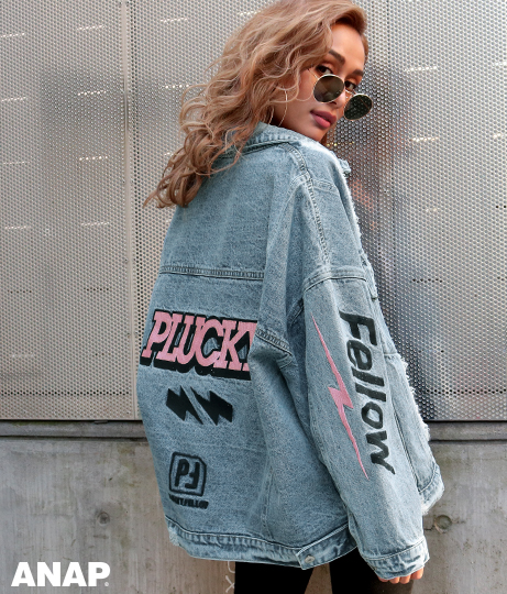 刺繍オーバーサイズクラッシュデニムジャケット