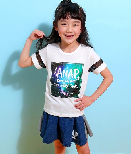 メッシュライン宇宙柄プリントTシャツ(トップス/Tシャツ)   ANAP KIDS