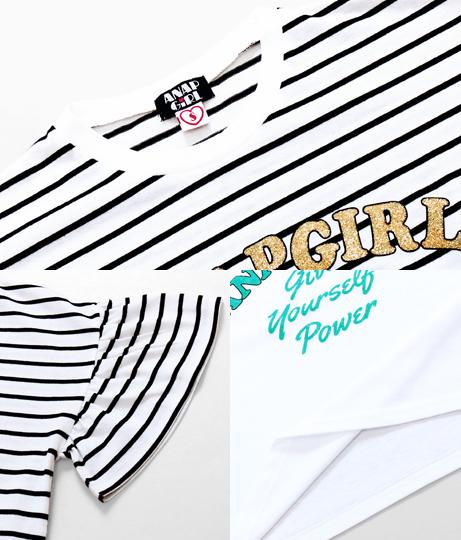 ラメプリントフリルトップス(トップス/Tシャツ) | ANAP GiRL