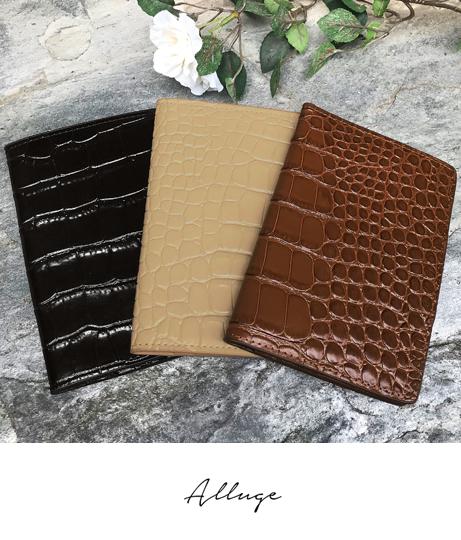 クロコ型押しレザーパスポートケース(ファッション雑貨/財布 ・長財布・二つ折り(折りたたみ財布) ) | Alluge
