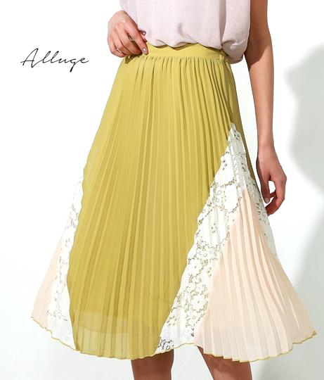 配色デザインプリーツスカート(ボトムス・パンツ /ミモレ丈スカート・スカート) | Alluge