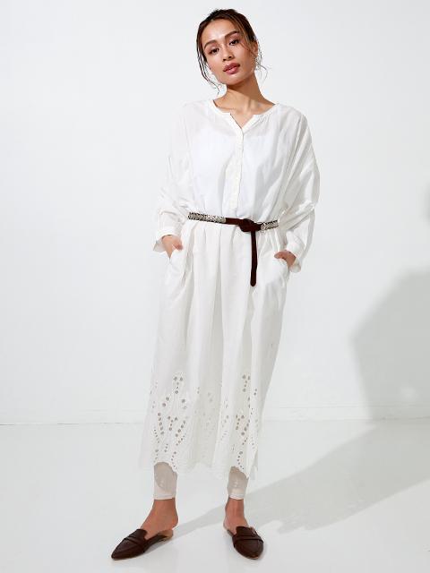 コットンボイル裾カットワーク刺繍ワンピース