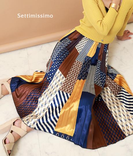 サテンスカーフ柄パッチワーク風プリーツスカート