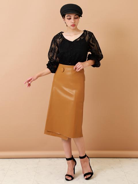 エコレザー1ボタンデザインスカート