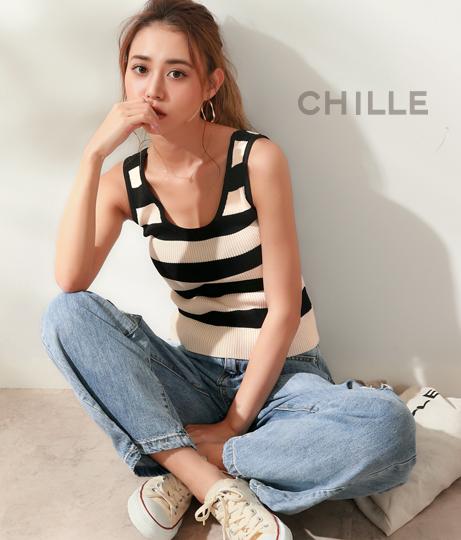 太ボーダーリブトップス | CHILLE