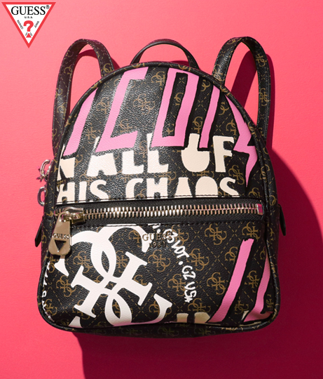 GUESS URBAN CHIC LOGO PRINT SMALL BACKPACK