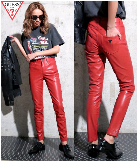 GUESS SANDRA 1981 FAUX LEATHER PANTS
