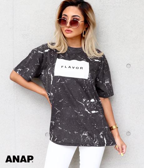 大理石柄プリントTシャツ
