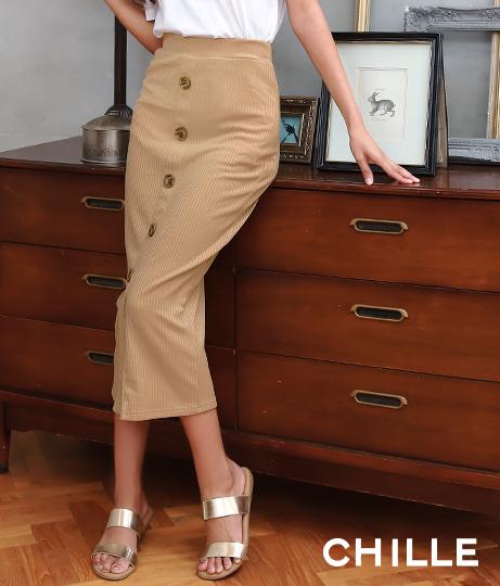 フロント釦リブタイトスカート