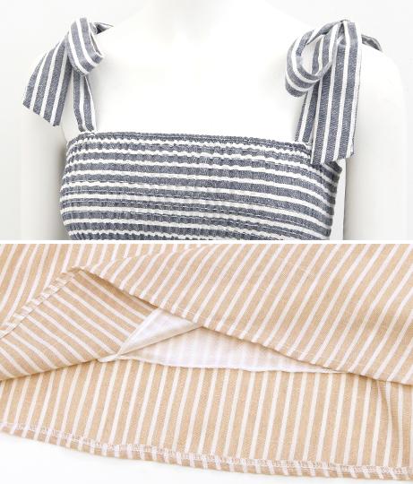 ストライプショルダーリボンワンピース(ワンピース・ドレス/ミディアムワンピ) | anap mimpi