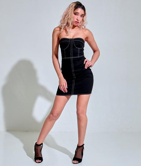 ホワイトステッチブラックデニムベアタイトワンピース(ワンピース・ドレス/ミニワンピ)   Anap USA