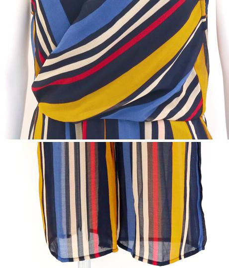 シフォンストライプカシュクールオールインワン(ワンピース・ドレス/サロペット/オールインワン) | Anap USA