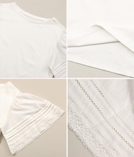 コットン天竺袖レースTシャツ(トップス/Tシャツ) | Alluge