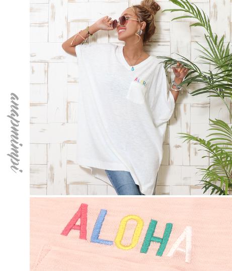 ALOHA刺繍VネックTシャツ