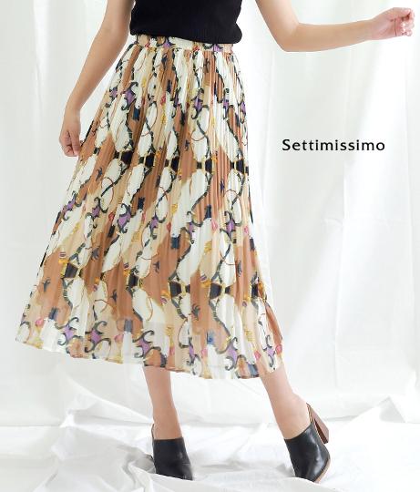 シフォンスカーフ柄ケシプリーツスカート