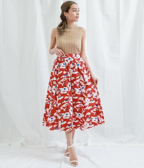 フラワーモチーフポイントカラーフレアースカート(ボトムス・パンツ /ミモレ丈スカート・スカート) | Settimissimo