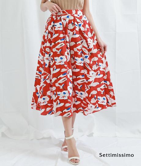フラワーモチーフポイントカラーフレアースカート