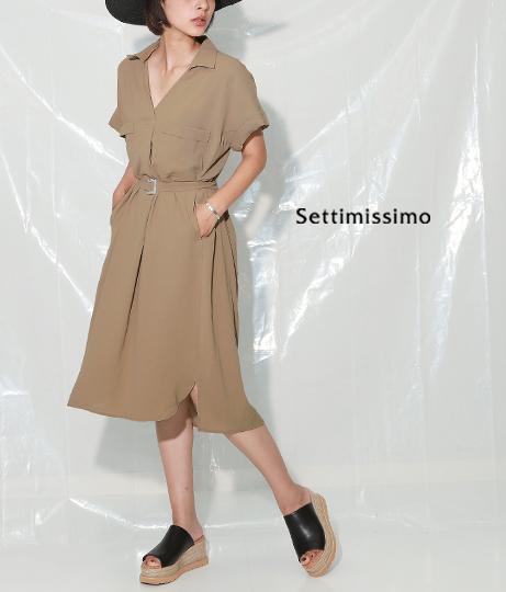 サイドスリットサファリ風シャツワンピース(ワンピース・ドレス/ミディアムワンピ) | Settimissimo
