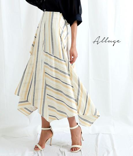 ストライプ切替デザインスカート