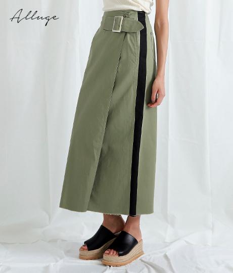 配色チノラインスカート