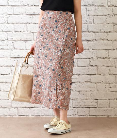 花柄クルミボタン付スカート