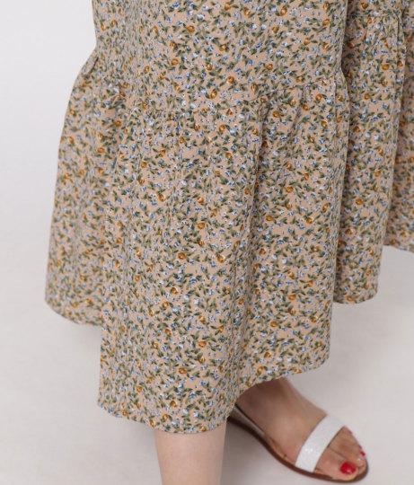 小花柄シャーリングワンピース(ワンピース・ドレス/ロングワンピ)   AULI