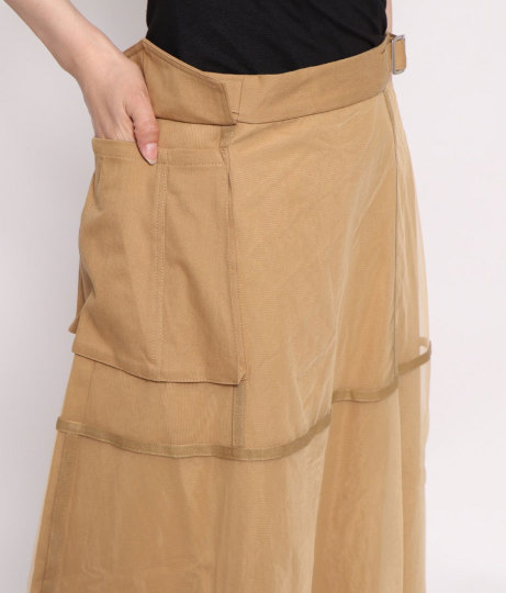 チュール×ツイルミリタリースカート(ボトムス・パンツ /スカート)   Factor=