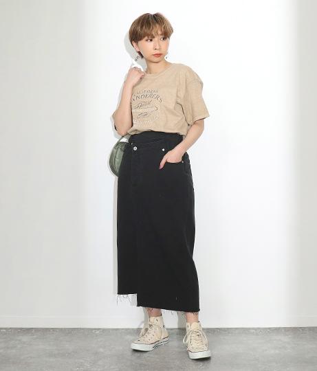 前スリットデニムスカート(ボトムス・パンツ /ミモレ丈スカート・スカート)   Factor=