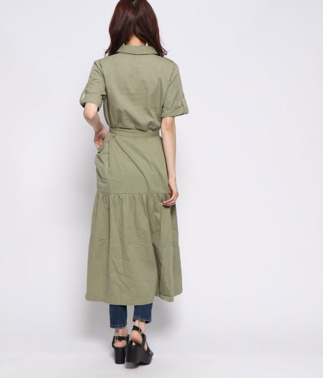 サファリシャツワンピース(ワンピース・ドレス/シャツ・ブラウス・ロングワンピ) | Factor=