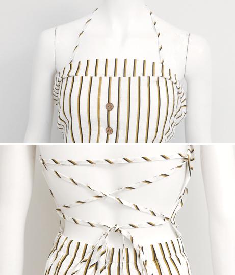 ボタンデザインバックレースアップストライプオールインワン(ワンピース・ドレス/サロペット/オールインワン)   Anap USA