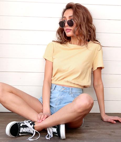 シャーリングヘムショートTシャツ(トップス/Tシャツ・カットソー ) | Anap USA