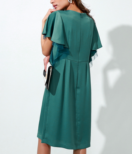 サテン×チュールカスケードデザインワンピース(ワンピース・ドレス/ミディアムワンピ・パーティードレス) | Settimissimo