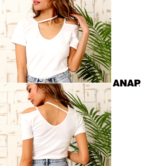 アシンメトリークロップドTシャツ(トップス/Tシャツ・カットソー ) | ANAP