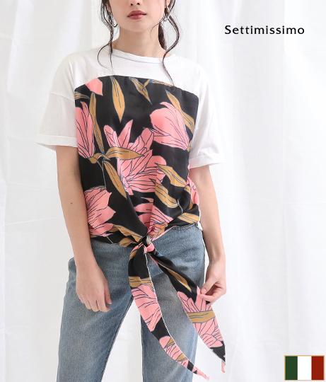 サテンフラワー柄スカーフドッキングTシャツ