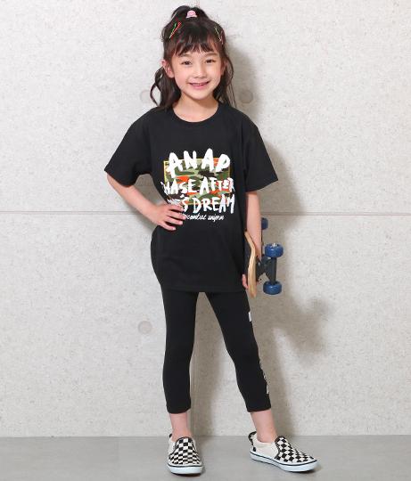 手書きロゴ迷彩ビッグTシャツ(トップス/Tシャツ) | ANAP KIDS
