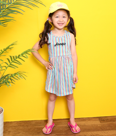 バックハートストライプワンピース(ワンピース・ドレス/ミディアムワンピ) | ANAP KIDS