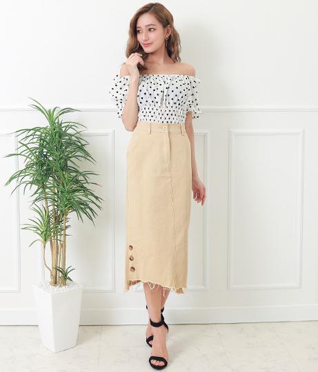 裾ボタンデザインツイルスカート(ボトムス・パンツ /ミモレ丈スカート・スカート)   CHILLE