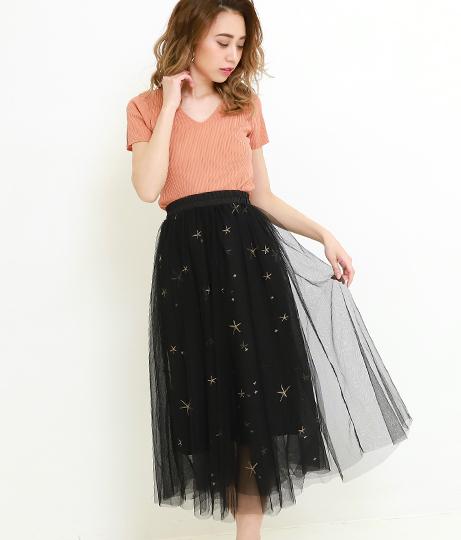 星刺繍チュールスカート(ボトムス・パンツ /ミモレ丈スカート・スカート) | CHILLE