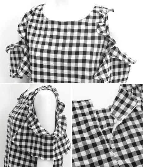 チェック柄肩あきワンピース(ワンピース・ドレス/ミディアムワンピ) | CHILLE
