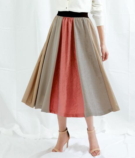 カラードッキングフレアスカート(ボトムス・パンツ /ミモレ丈スカート・スカート) | Alluge