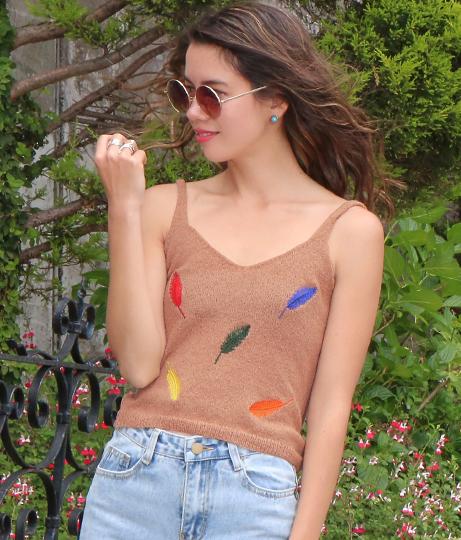 リーフ刺繍キャミソール(トップス/キャミソール) | anap mimpi