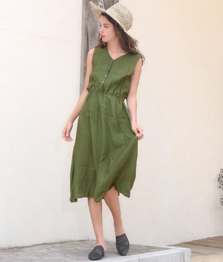 ボタンノースリーブワンピース(ワンピース・ドレス/ミディアムワンピ) | anap mimpi