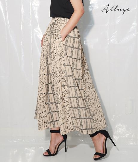 フラワーパネルプリント切替スカート(ボトムス・パンツ /スカート) | Alluge