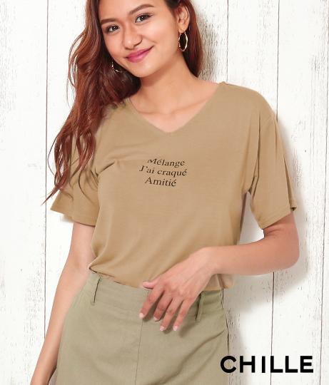 フレンチ文字プリントTシャツ