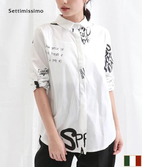 グラフィカルプリントロールアップスリーブシャツ