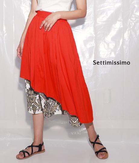 バロック柄レイヤードフレアースカート(ボトムス・パンツ /スカート) | Settimissimo