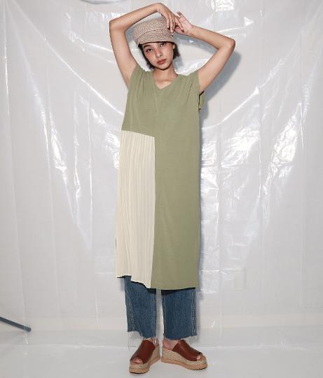 サイドプリーツ切替デザインワピース(ワンピース・ドレス/ミディアムワンピ) | Settimissimo