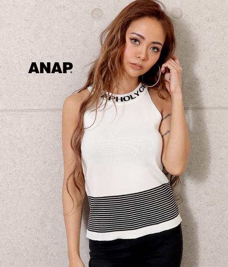 ネックロゴアメスリボーダートップス(トップス/タンクトップ)   ANAP