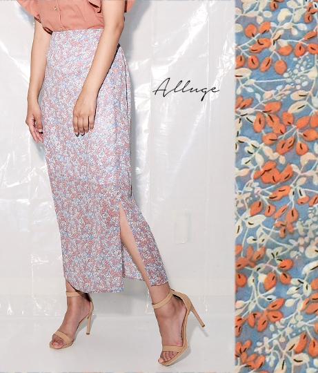 花柄シフォンサイドスリットスカート