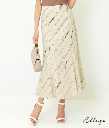 バイアスロゴプリントマーメイドスカート